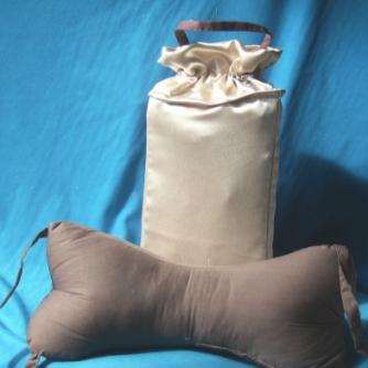 Satin travel pillow and pillowcase