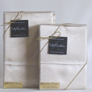 White satin pillowcases made in Canada by Satin Creations