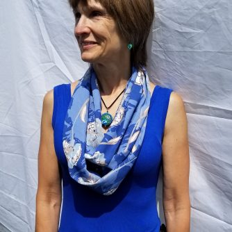 Blue Satin Infinity Scarf by Satin Creations, Canada